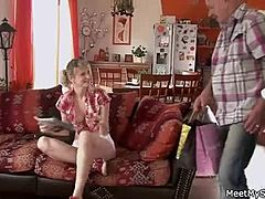Cute mommy and daddy parents make their daughter naked and have shag